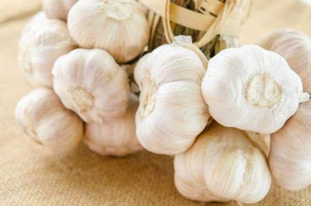 garlics: Garlics bundle on sack background.