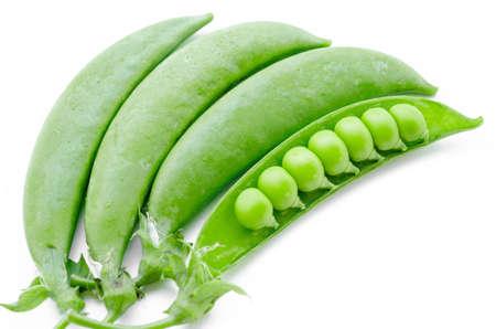 un healthy: sugar snaps peas on a white background
