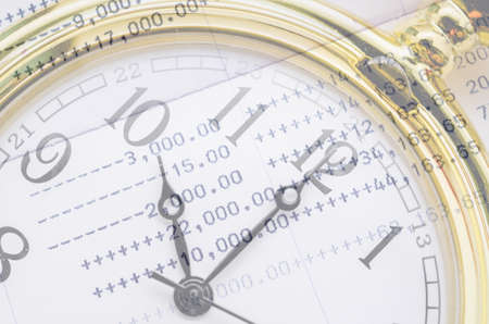 bank statement: Clock face and book bank statement. Business concept. Stock Photo
