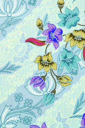 malaysia culture: Beautiful flower pattern background on batik fabric Stock Photo