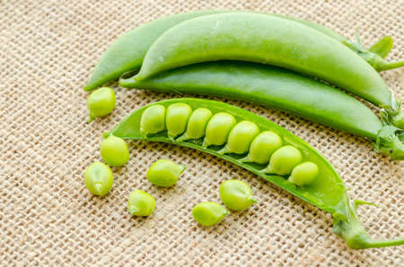 sweet sugar snap: Fresh green peas pods on sack background.