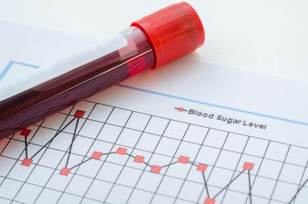 Muestra de sangre para la detección de la prueba para diabéticos en el tubo de la sangre en la tabla de control de azúcar en la sangre. Foto de archivo