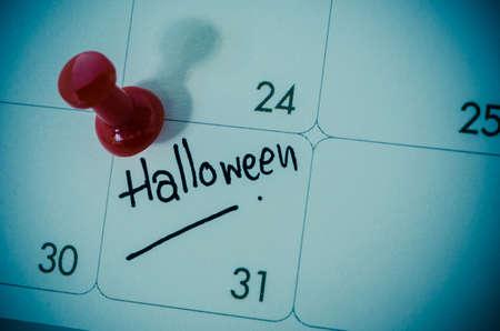 october calendar: Un calendario que muestra el 31 de octubre, el concepto de Halloween. Foto de archivo