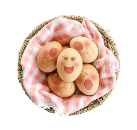 jowl: Eggs sleep in Expression Face in basket on white background. Stock Photo