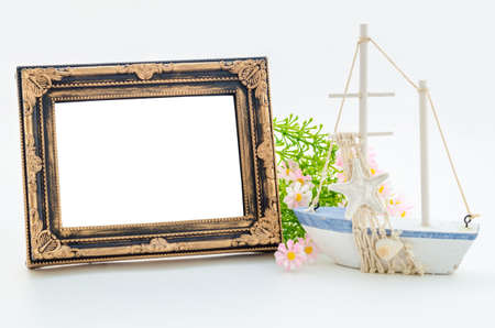vintage photo frame: Old vintage blank photo frame and decorations. Save clipping path.
