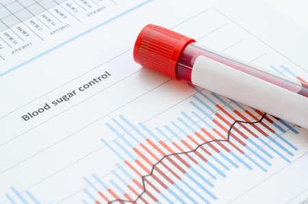 probeta: Muestra de sangre para la detección de la prueba para diabéticos en el tubo de la sangre en la tabla de control de azúcar en la sangre.