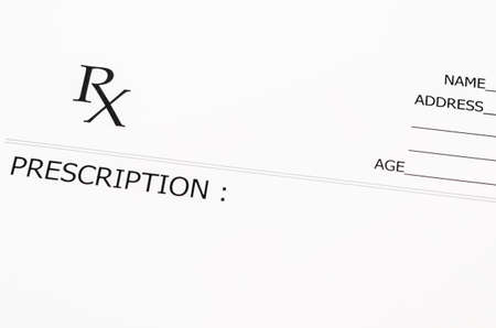 the name of the drug: Close up blank prescription form.