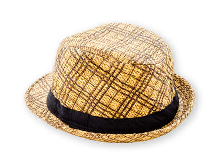 stylish men: Woven hat closeup isolated on a white background, save clipping path. Stock Photo