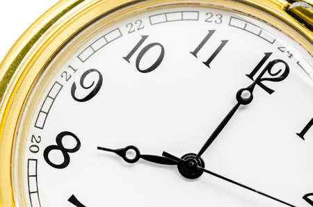 hour glass figure: Close up gold clock face on white background.