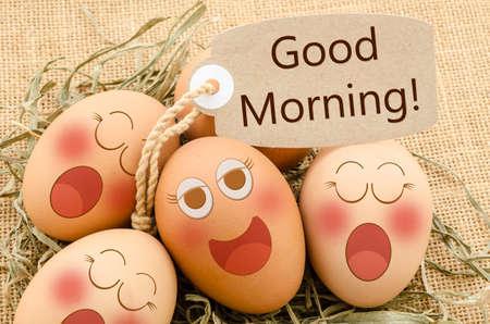 morning breakfast: Good morning card and smile face eggs sleep sack background.