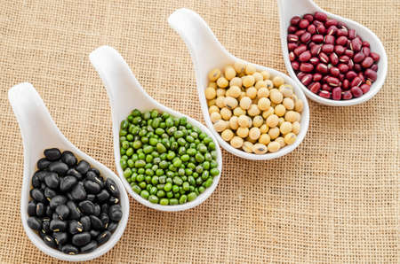munggo: Mix of seeds beans, green bean, azuki or red bean, soy bean and black bean on in white spoon on sack background. Stock Photo