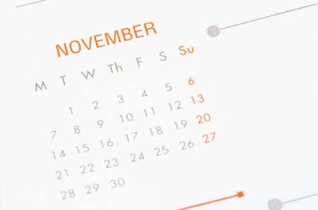 calendario noviembre: Cierre de la página de calendario noviembre. Foto de archivo