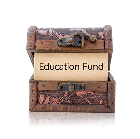 white fund: Education fund word in treasure chest isolated on white background Stock Photo
