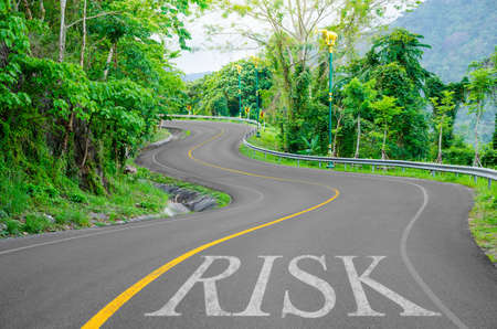 s curve: Risk written on S curve road in the green view.