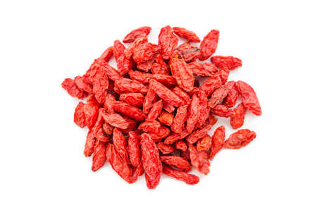 lycium: heap of goji berries isolated on white background. Stock Photo