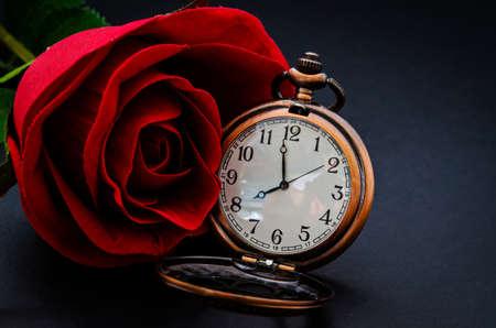 elapsed: Red rose and vintage pocket wath on black background.