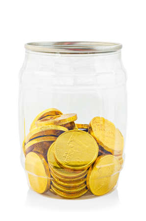 Gold chocolate coin in bottle isolated on white background, Save clipping path. Stock Photo