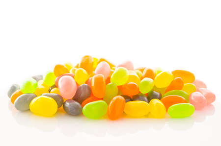 Group of colored candys on a white background