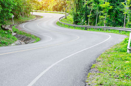 twisty: An empty S-Curved road in Thailand.