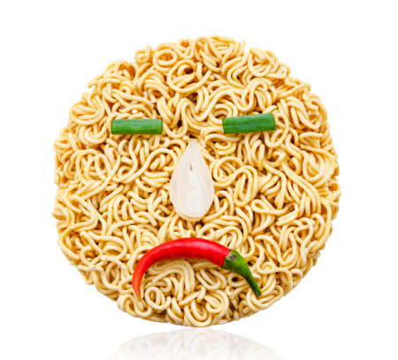 sadly: instant noodles and vegetable with sadly emotion isolated on white background, Saved clipping path.