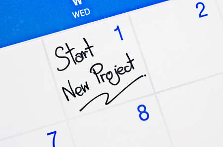 Start new project on calendar appointment page.
