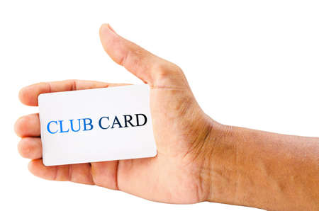 ard: hand holding club card isolated over white background