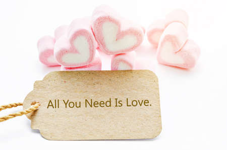 wording: All you need is love wording paper tag with Marshmallow heart shape on white background. Stock Photo