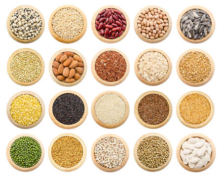 flak: Dried grains, peas and rice collection isolated over white background. Stock Photo