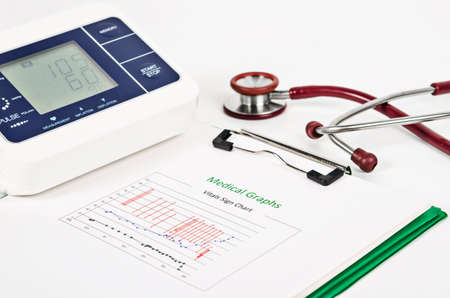 vitals: Vitals sign chart, Medical Graphs and Measuring blood pressure with red stethoscope on white background. Vital sign record concept