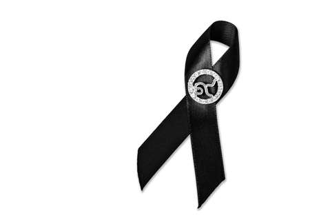 sorrowfully: The Black Ribbon with number 9. Rama 9 of Thailand King. Isolated on white background, Saved clipping path.
