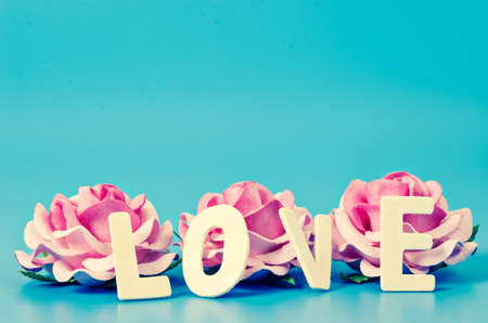 fourteenth: LOVE word and pink rose with empty space for your create on blue background. Happy valentines day concept.