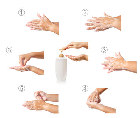 Hand washing medical procedure step by step. Isolated on white background.