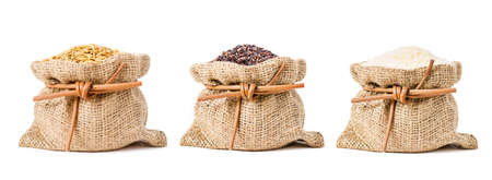 Different of jasmine rice, Paddy, brown and white rice in sack bag isolated on white background. Stock Photo