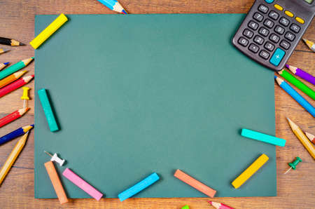 Blank Green board with stationery ready for your text or message.