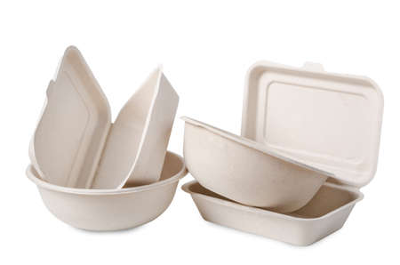 Group of product made from bagasse for container food, Box, bowl and cup. Isolated on white background, Clipping path