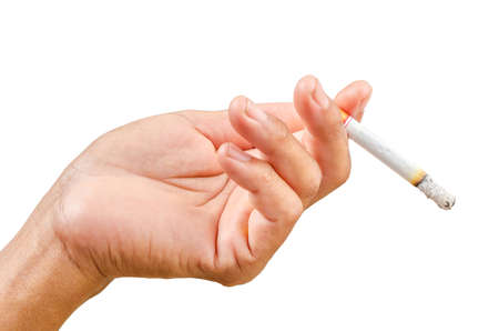 Isolated man hand holding cigarette in white background, Save clipping path.