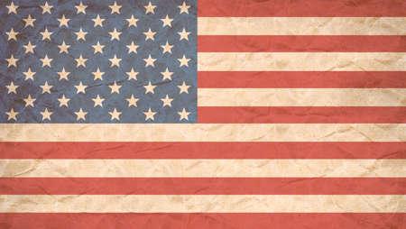 USA flag print on Grunge Poster Paper, Retro Tone Vintage Effect