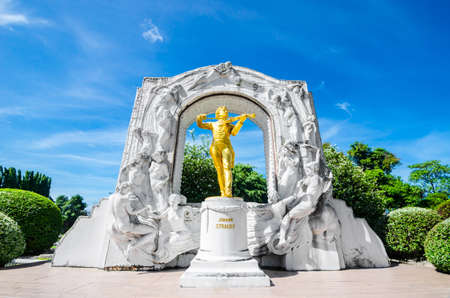 reproduce: PATTAYA, THAILAND - June 3 2017: Johann Strauss statue in Mini Siam Park. Mini Siam is a famous miniature park attraction. It had been constructed in 1986 Editorial