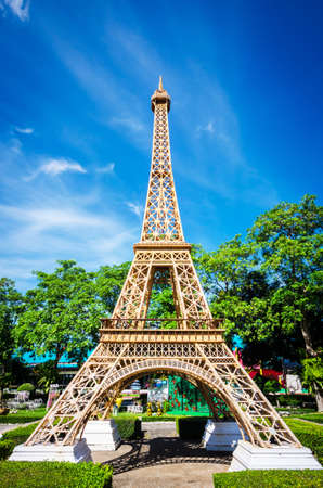 reproduce: Eiffel tower replica in Mini Siam Park Pattaya Chonburi province at Thailand. June 3 2017. Mini Siam is a famous miniature park attraction. It had been constructed in 1986