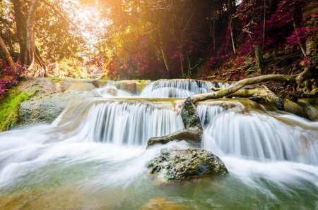 Chet Sao Noi Waterfall, Saraburi, Thailand with sun light. Stock Photo