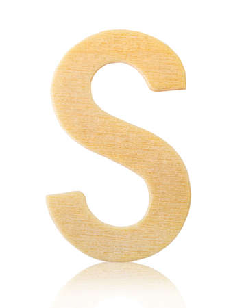 Single capital block wooden letter S isolated on white background, Save clipping path.