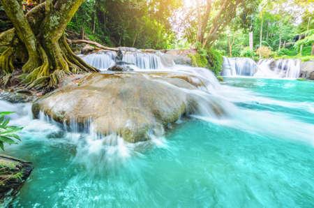 Waterfalls Namtok Chet Sao Noi at Saraburi Thailand Stock Photo