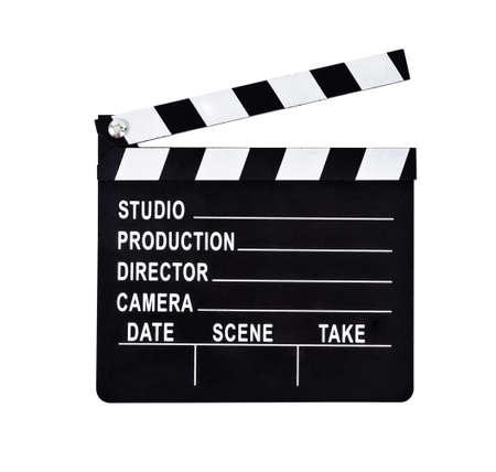 An isolated shot of a studio clapboard for film production. Save clipping path.