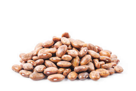 Raw Organic cranberry bean on white background (pinto, bean)