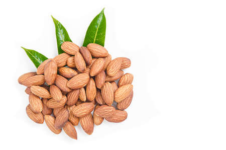 Almonds nuts isolated on white background.