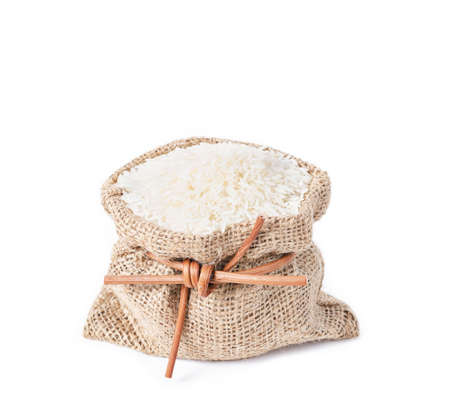 sack of rice isolated on a white background