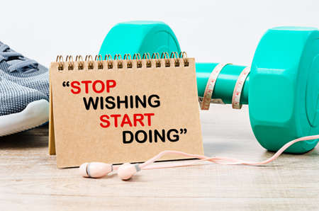 Stop wishing. Start doing. Fitness workout gym motivation quote. 写真素材