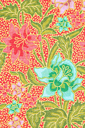 Close up texture of the beautiful of art Thai Batik Pattern. Imagens