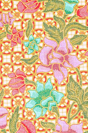 Gros plan sur la texture du beau motif de batik thaï de l'art.