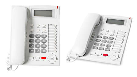 Set of White IP Phone office isolated on white background, save clipping path. Stock Photo